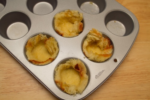 Challah Bread Pressed in Muffin Tin for Brown Bettys