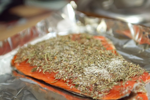 Pre-cooked salmon topped with herbs